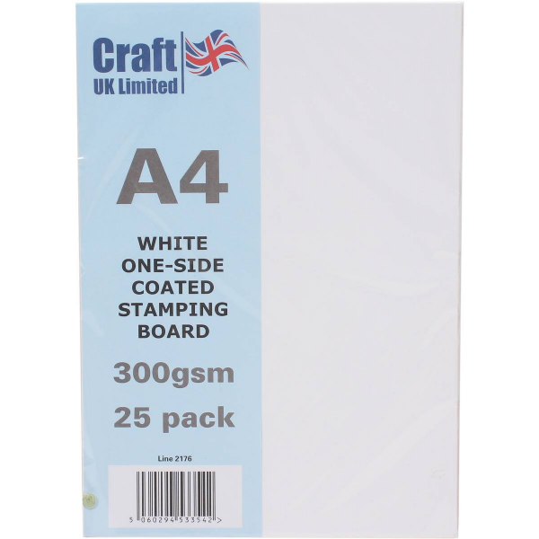 Craft UK A4 White Stamping Board 25 Sheets